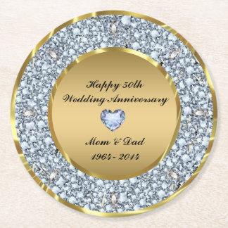White Diamonds & Gold 50th Wedding Anniversary Round Paper Coaster