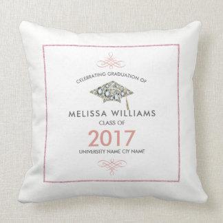 White Diamonds Graduation Hat Class Of 2017 Throw Pillow