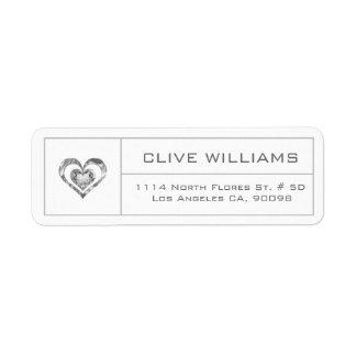 White Diamonds Heart Illustration Silver Frame Return Address Label