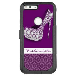 White Diamonds High Heel Purple Damask Design OtterBox Commuter Google Pixel XL Case