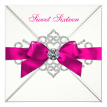White Diamonds Hot Pink Sweet 16 Party Invitation