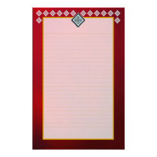 White Diamonds on Ruby Red Fine Lined Stationery