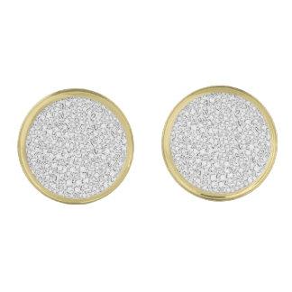 White Diamonds Pattern Gold Finish Cuff Links