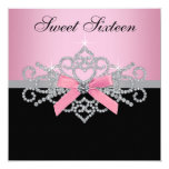 White Diamonds Pink Black Sweet 16 Birthday Party 13 Cm X 13 Cm Square Invitation Card