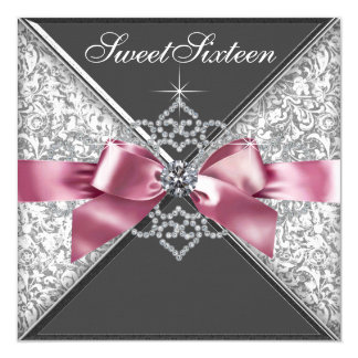 White Diamonds Pink Black Sweet 16 Birthday Party Card