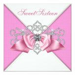 White Diamonds Pink Sweet 16 Birthday Party Custom Invitation