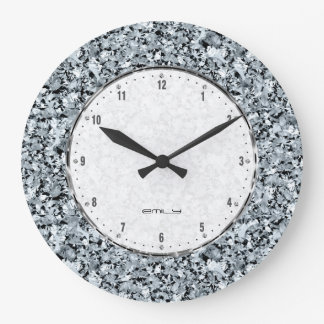 White Diamonds Seamless Pattern Large Clock
