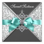 White Diamonds Teal Blue Sweet 16 Birthday Party 13 Cm X 13 Cm Square Invitation Card