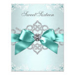 White Diamonds Teal Blue Sweet 16 Birthday Party Personalized Invitations