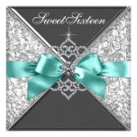 White Diamonds Teal Blue Sweet 16 Birthday Party Custom Invite