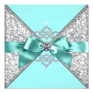 White Diamonds Teal Blue Wedding 13 Cm X 13 Cm Square Invitation Card
