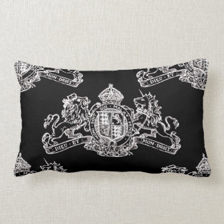 White Dieu et Mon Droit British Coat of Arms Lumbar Pillow