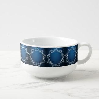 White Digital Flower On Dark Blue Soup Mug