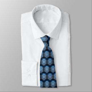 White Digital Flower On Dark Blue Tie