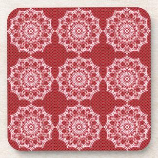 White Digital Flower On Vintage Red Pattern Coaster