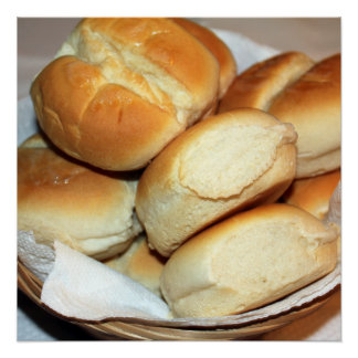 White Dinner Rolls In a Bread Basket Photo Poster