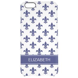 White / DIY Navy Fleur de Lis Navy Name Monogram Clear iPhone 6 Plus Case