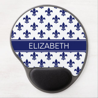 White / DIY Navy Fleur de Lis Navy Name Monogram Gel Mouse Pad