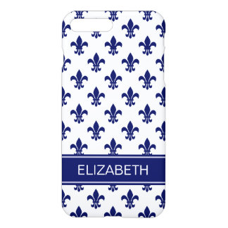 White / DIY Navy Fleur de Lis Navy Name Monogram iPhone 7 Plus Case