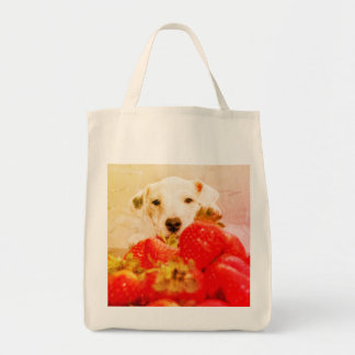 White dog and strawberries grocery tote bag