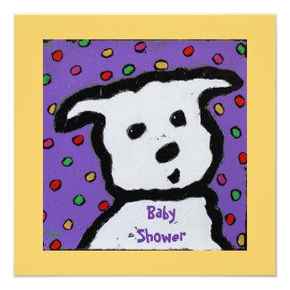 white dog  BabyShower invite