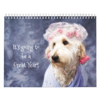White Dog Funny Calendar - Golden Doodle