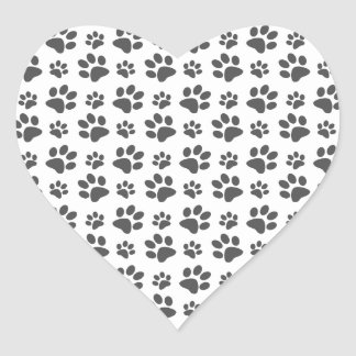 White dog paw print pattern heart sticker