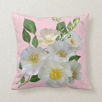 White dog roses floral pillow