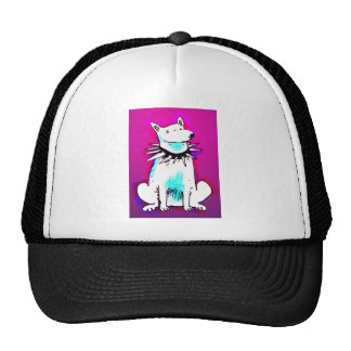 white dog with spike collar cap