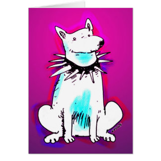 white dog with spike collar card