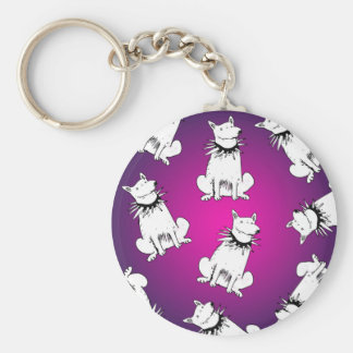 white dog with spike collar key ring