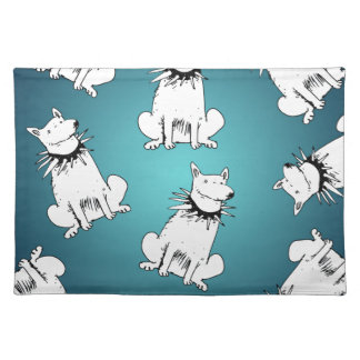 white dog with spike collar placemat
