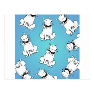 white dog with spike collar postcard