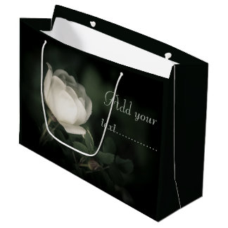White Dogrose on a Dark Background. Add Your Text Large Gift Bag