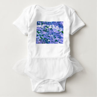 White Dogwood Blossom in Blue Baby Bodysuit