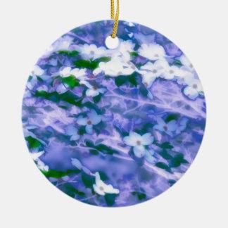 White Dogwood Blossom in Blue Ceramic Ornament