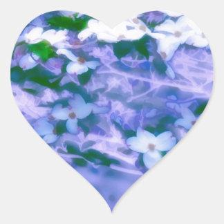White Dogwood Blossom in Blue Heart Sticker