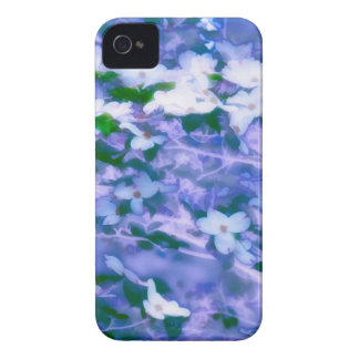 White Dogwood Blossom in Blue iPhone 4 Cover