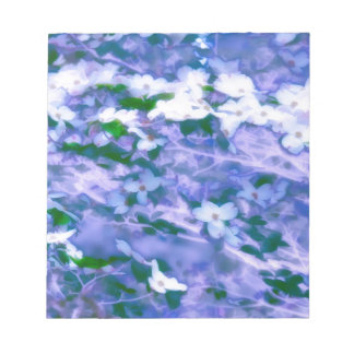 White Dogwood Blossom in Blue Notepad