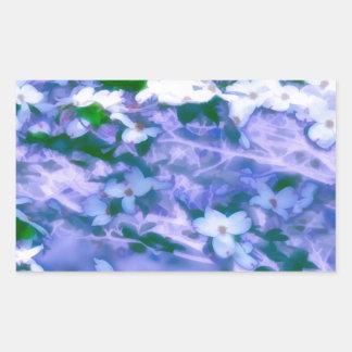White Dogwood Blossom in Blue Rectangular Sticker