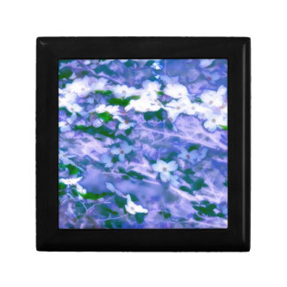 White Dogwood Blossom in Blue Small Square Gift Box