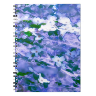White Dogwood Blossom in Blue Spiral Note Books