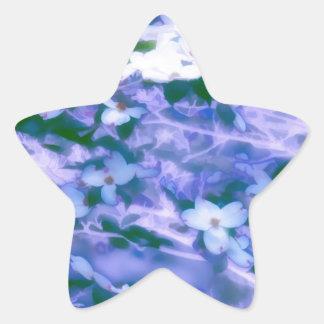 White Dogwood Blossom in Blue Star Sticker