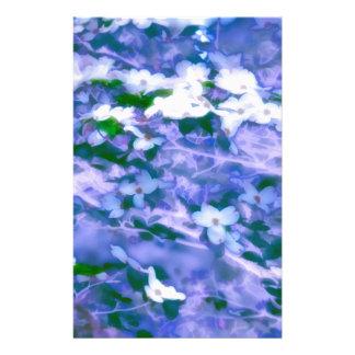 White Dogwood Blossom in Blue Stationery