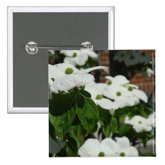 White Dogwood Flower Pinback Buttons