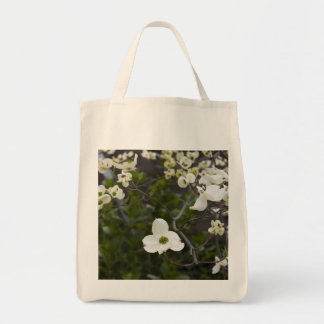 White Dogwood Flowers Grocery Tote Bag