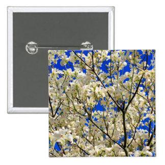 White Dogwood Tree Flowers and Blue Sky Pins