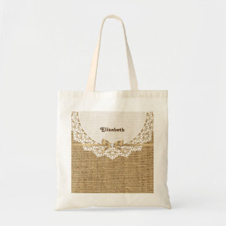White doily with lace and linen natural burlap budget tote bag