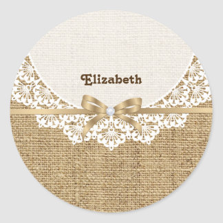 White doily with lace and linen natural burlap sticker