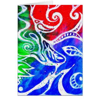 White Doodle Abstract Painting Blank Notecard